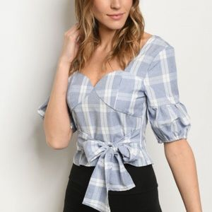 Women's BOW TIE PUFF SLEEVE PLAID  TOP
